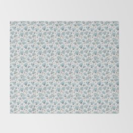 Blue Watercolor Peonies Floral Pattern Small Throw Blanket