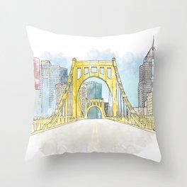 Roberto Clemente Bridge Throw Pillow