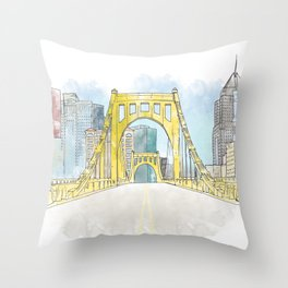 Roberto Clemente Bridge Throw Pillow