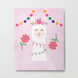 Cute Pink Llama - Boho Floral Alpaca with Pompoms Metal Print