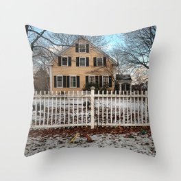 Rhode Island House and Fence and Dinosaurs Throw Pillow