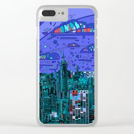new york city panorama blue Clear iPhone Case