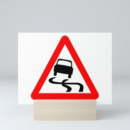Danger SkiddingTraffic Sign Isolated Mini Art Print