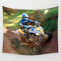 racing Wall Tapestries featuring ATV offroad racing by Gaspar Avila
