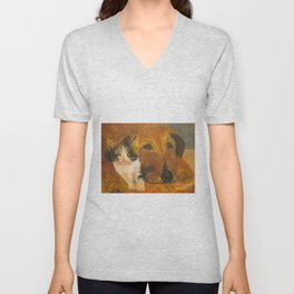 Cat and Dog Resting - Oil Painting Unisex V-Neck