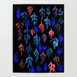 180726 Abstract Leaves Botanical Dark Mode 21 |Botanical Illustrations Poster