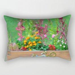 Flowers in a wooden flower bed Rectangular Pillow