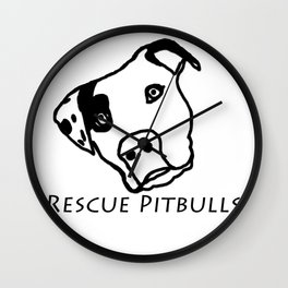 Rescue Pitbulls Logo Wall Clock