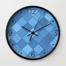 Blue tiles pattern Wall Clock