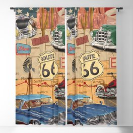 Vintage Route 66 poster. Blackout Curtain