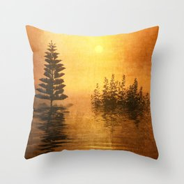 Misty Oriental Sunny Landscape Reflection Throw Pillow
