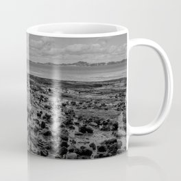 Black and white stony beach in Auckland New Zealand Coffee Mug