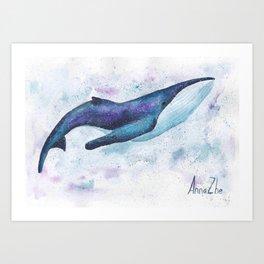Big space whale illustration Art Print