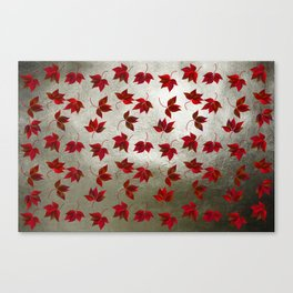 Red Leaves on Silver Golden Metal Canvas Print