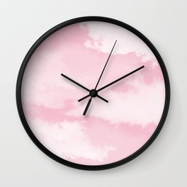 Girly blush pink white pastel color modern clouds pattern Wall Clock