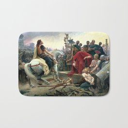Vercingetorix Throws Down His Arms At The Feet Of Julius Caesar Bath Mat