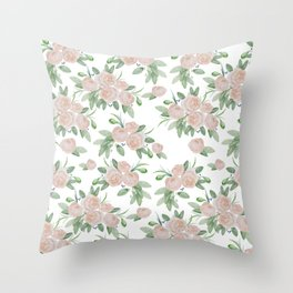 Watercolor blush coral pink forest green floral Throw Pillow