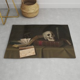 """Memento Mori, """"To This Favour"""" by William Michael Harnett Rug"""