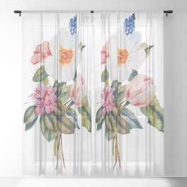 Loose Spring Bouquet Sheer Curtain