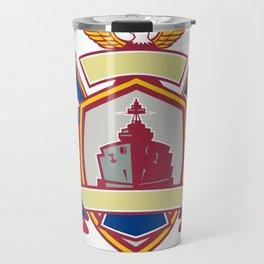 Texas Warship Lone Star Flag Crest Icon Travel Mug