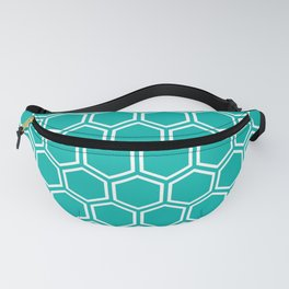 Turquoise and white honeycomb pattern Fanny Pack