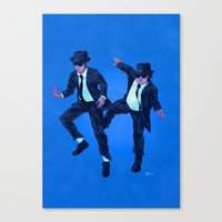 blues brothers Canvas Prints featuring Blues Brothers by Dave Collinson