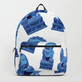 Blue Lion Statues Backpack