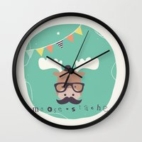 monty python Wall Clocks featuring Monty Mouse by Little Joy Designs