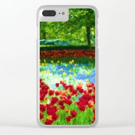 Colorful Impressionist Flower Field - II Clear iPhone Case