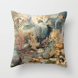 Ocean Life by James M Sommerville 1859 - Reproduction from original under CC0 Throw Pillow