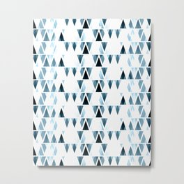 Icicles, abstract crystal pieces in light blue, geometric design in winter theme Metal Print