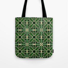 Art Deco Floral Tiles in Emerald Green and Faux Gold Tote Bag