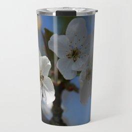 Close Up Of White Cherry Blossom Flowers Travel Mug