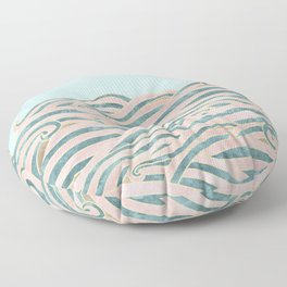 Venetian Waves // Vintage Abstract Pink Blue and Gold Summer Illustration Digital Beach Wall Decor Floor Pillow