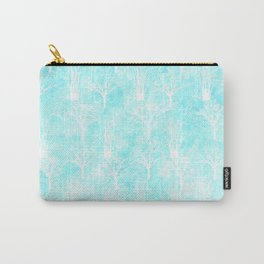 White winter forest- With snow covered trees- pattern on teal Carry-All Pouch
