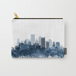 Pittsburgh City Skyline Watercolor Blue by Zouzounio Art Carry-All Pouch