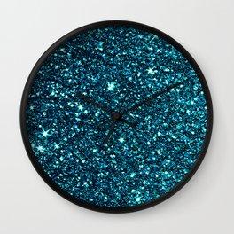 blue sparkle Wall Clock