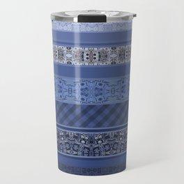 Blue striped patchwork Travel Mug