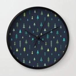 Trees digital illustration (dark background) Wall Clock