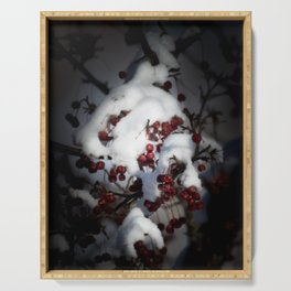 Snowy Flowering Crab Berries Serving Tray
