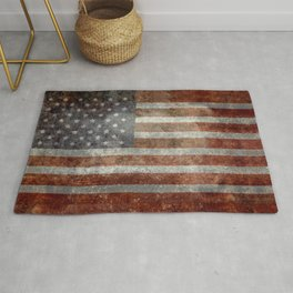 USA flag - Old Glory in dark grunge Rug