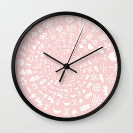Rose Quartz Love Symbols Mandala Wall Clock