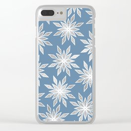 Silver Winter Geometric Snowflakes Pattern Clear iPhone Case