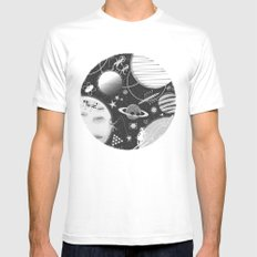 SPACE & SPORT MEDIUM Mens Fitted Tee White