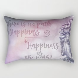 Buddha Path to Happiness Inspirational Typography Rectangular Pillow