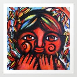 Boy con miedo Art Print