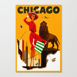 Vintage Chicago Illinois Travel Canvas Print