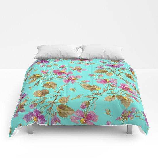 beach roses mint Comforters
