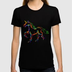 Colored Lines Unicorn SMALL Black Womens Fitted Tee