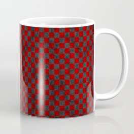 Retro Check Grunge Material Red Black Coffee Mug